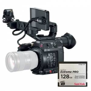 Canon EOS C200 EF-mount Cinema Camera with grip, viewfinder and monitor + Sandisk CFast 128GB 525 MBs + SanDisk Cfast 2.0 Reader voor USB 3.0 cards tot 500MB/s