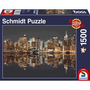 Schmidt New York Skyline bij Nacht - Puzzel (1500)