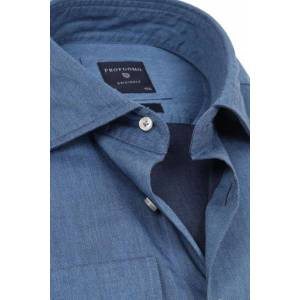 Profuomo Originale Overhemd Denim  - Blauw - Size: 38