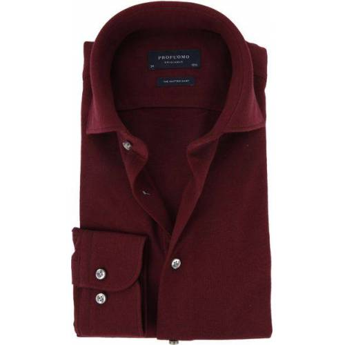 Profuomo Overhemd Knitted Bordeaux  - Bordeaux - Size: 42