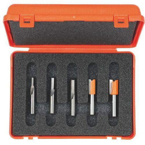 CMT Set van 5 frezen in pvc kistje schacht 6 mm