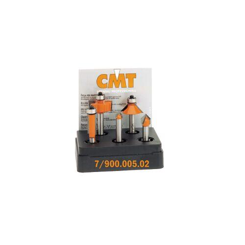 CMT Set van 5 frezen in pvc kistje schacht 6 mm HM