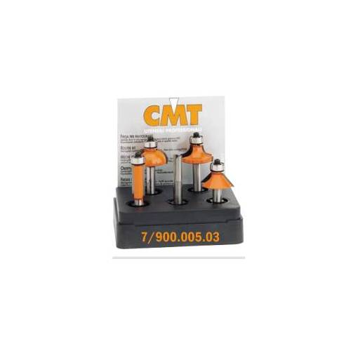 CMT Set van 5 frezen in pvc kistje schacht 8 mm HM
