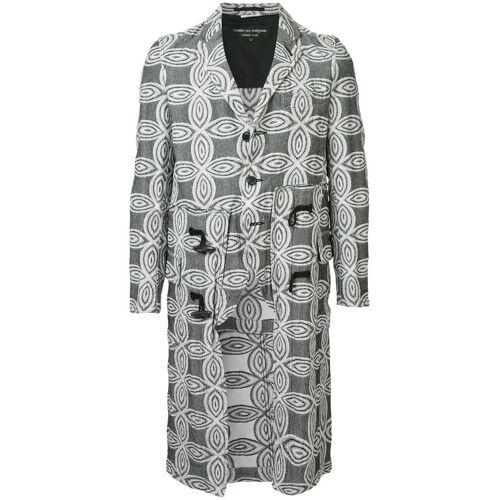 Comme Des Garçons Pre-Owned bloemmotief lange jas - Zwart