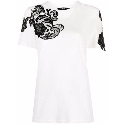 Amen T-shirt met bloemenkant - Wit