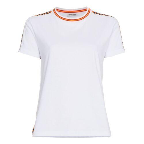 Miu Miu striped logo trims cotton t shirt - Wit