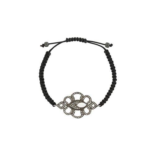 Gemco parel diamanten bedelarmband - Zwart