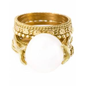 Pearl Wouters & Hendrix Gold pearl set of rings - Wit