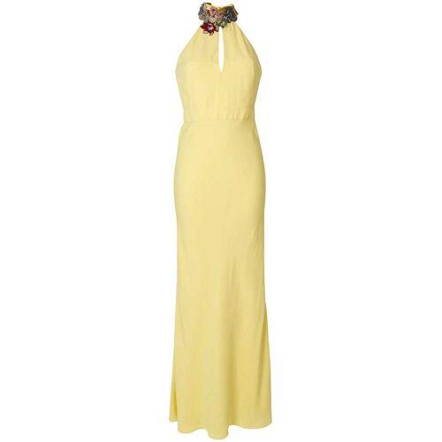 Alexander McQueen edelsteen bloemen halslijn jurk - Geel