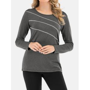 Newchic Solid Color O-neck Long Sleeve Casual Sports Blouse For Women