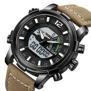 Newchic Military Sport Style LED Chronograph Luminous Dual Display Digital Watch Leather Men Wrist Watch -