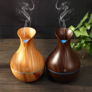 Newchic 130ML Wood Aroma Essential Oil Diffuser Ultrasonic Air Humidifier Changing LED Lights