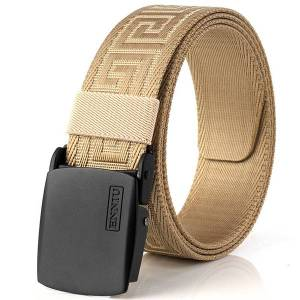 Newchic 125cm Men Outdoor Nylon Canvas Belts Automatic Buckle No Hole Precise Fit Special Pattern Waist