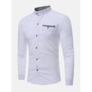 Newchic Casual Stylish Chest Pockets Slim Stand Collar Designer Shirts for Men
