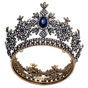 Newchic Retro Messing Blue Hairband Crystal Princess Wedding Prom Tiara Krone Hairband