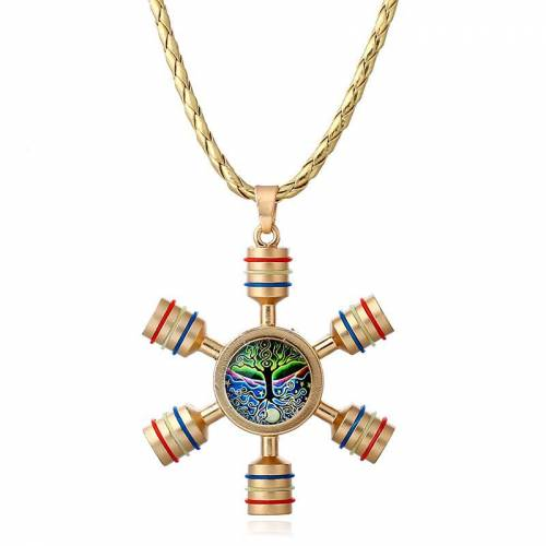 Newchic Unisex Fidget Spinner Shape Unique Necklace Tree of Life Pendant for Men Women