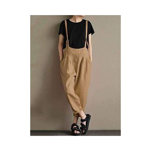 BERRYLOOK Cotton And Linen Overalls  - khaki - Size: Large
