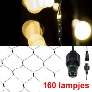 123led Netverlichting 2 x 1 m uitbreiding   extra warm wit   160 lampjes