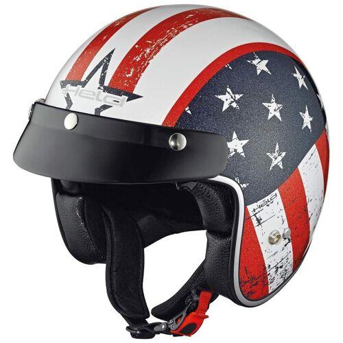 Held Black Bob Vlag Ontwerp Jet Helm - Wit