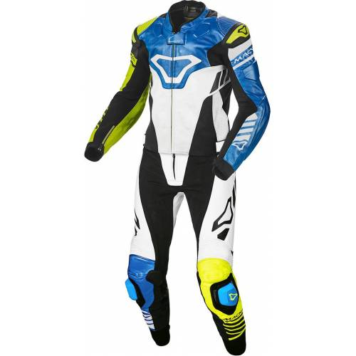Macna Tracktix Two Piece Geperforeerde motorfiets lederen pak - Blauw