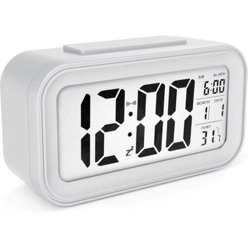 JAP Clocks AC18 digitale wekker - Alarmklok - wit