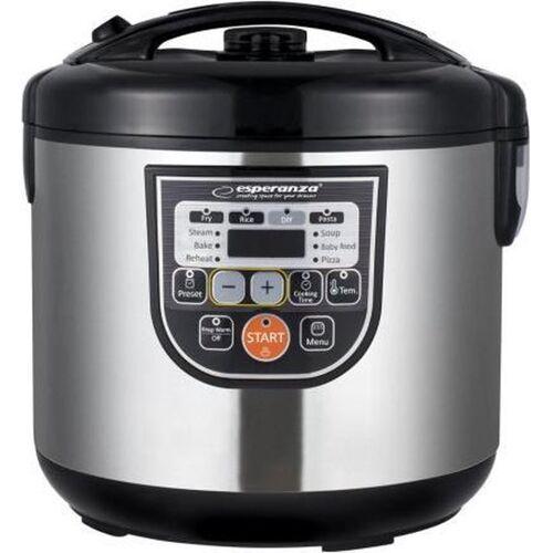 Esperanza Multicooker RVS met Timer – Elektrische Snelkookpan, Pastakoker, Rijstkoker en Stomer, Stoomkoker