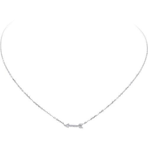 Unknown Lovenotes ketting - zilver gerodineerd - pijl - zirkonia