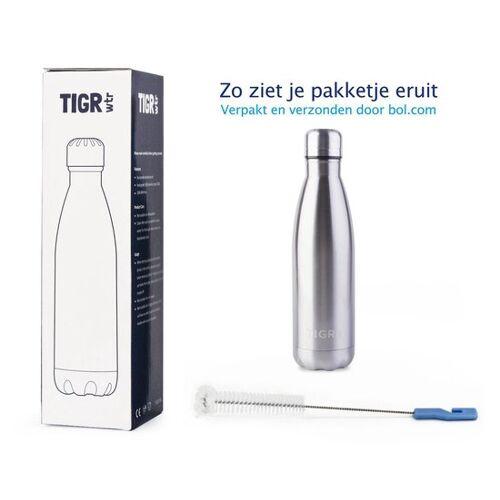 TIGR Waterfles in Roestvrij Staal RVS - Thermosfles - 500ML - Zilver - Gratis afwasborstel