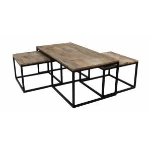 henk_schram_meubelen Salontafel - mangohout / ijzer - set van 3
