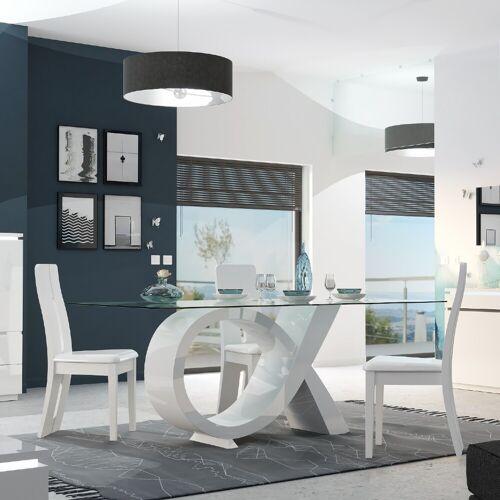sciae Eettafel Elif 200x100 met glazen blad - hoogglans wit