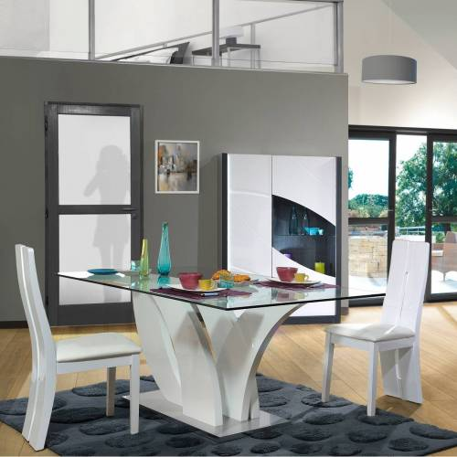 sciae Eettafel Eloa 200x100 met glazen blad - hoogglans wit