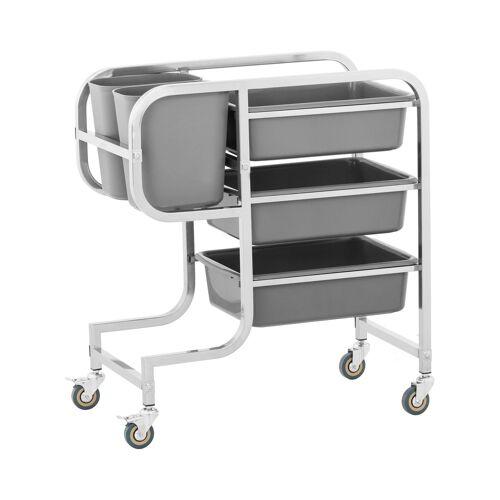 Royal Catering Serveerwagen - 3 kuipen - 2 vuilnisbakken - tot 100 kg 10011537