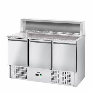 Royal Catering Pizzawerkbank - 379 L - granietwerkblad - 3 deuren 10010922