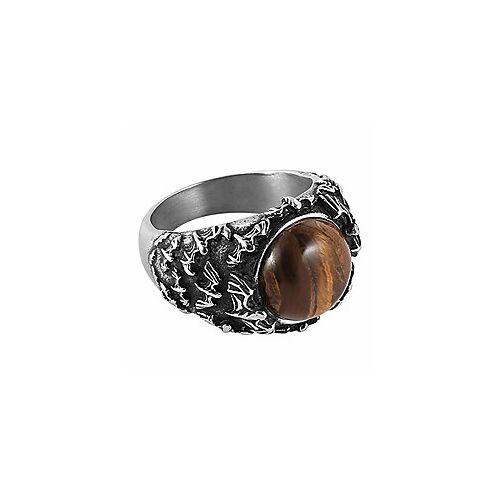 gepolijste natuurlijke tijgeroogstenen vleermuisring voor mannen vrouwen roestvrijstalen ring wicca, reiki en energie kristal helende sieraden
