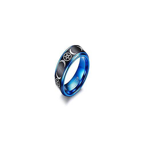8mm mens zwart blauwe wicca heidense pentagram triple moon godin mat afgewerkte wolfraamcarbide band ring