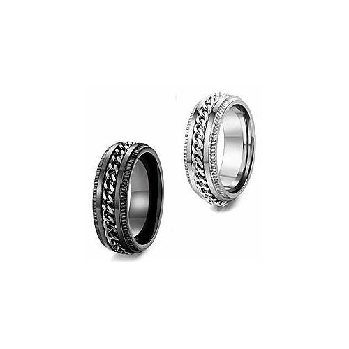 2 stks rvs fidget ringen voor heren vrouwen cool spinner angst ringen bruiloft pormise band ring set
