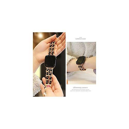 Apple kleine zoete wind ketting riem voor apple watch 5 4 40mm 44mm horlogebanden roestvrij stalen ketting met lederen armband band band voor iwatch serie 3 2 38mm 42mm