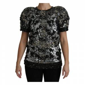 Dolce & Gabbana Sequined Crystal Embellished Top Blouse - Female - 38 IT
