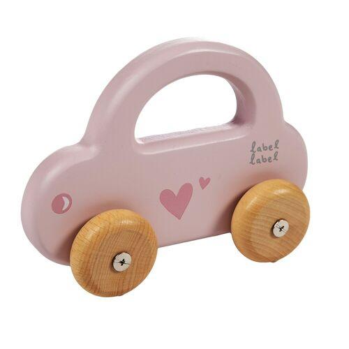 Label-Label Houten Auto Label-Label Little Car Pink