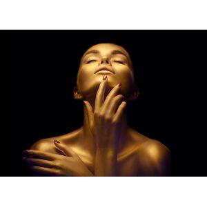 Boschbedding Foto op glas vrouw in goud