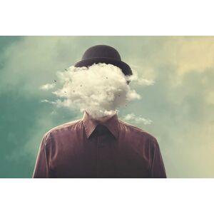 Boschbedding Schilderij op glas man in de wolken