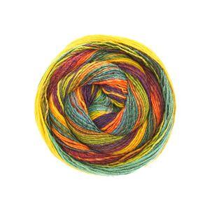 Lana Grossa Gomitolo Molto 605 Kleur: Oranje-Petrol-Rood-Roodviolet-Geel-Groen