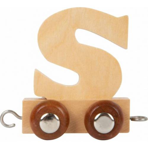 Small Foot treinkarretje letter S hout beige 5 x 3,5 x 6 cm - Beige