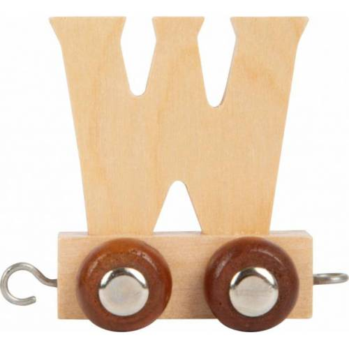 Small Foot treinkarretje letter W hout beige 5 x 3,5 x 6 cm - Beige