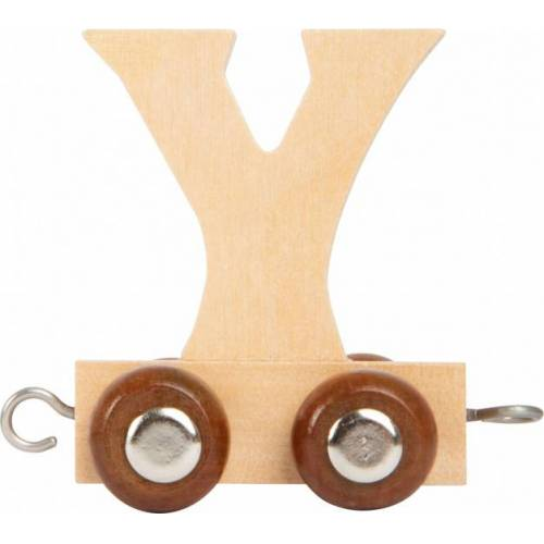 Small Foot treinkarretje letter Y hout beige 5 x 3,5 x 6 cm - Beige