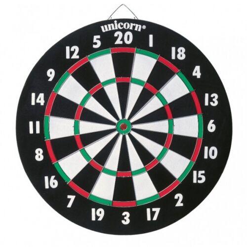 Unicorn dartbord dubbelzijdig met 6 steeltip dartpijlen - Multicolor