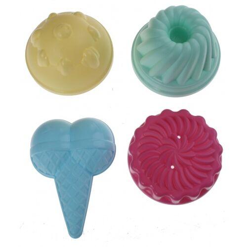 écoiffier gebakjes en ijsjes zandvormpjes 4 stuks - Multicolor