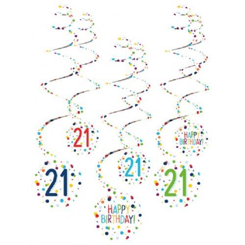 Amscan spiraalslingers 21 Confetti Birthday 61 cm papier 6 stuks - Wit,Multicolor
