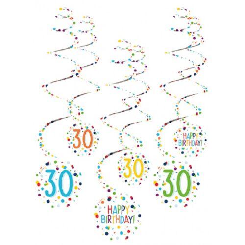 Amscan spiraalslingers 30 Confetti Birthday 61 cm papier 6 stuks - Wit,Multicolor