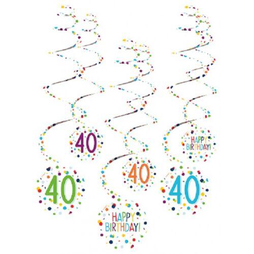 Amscan spiraalslingers 40 Confetti Birthday 61 cm papier 6 stuks - Wit,Multicolor